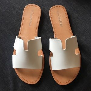 White Cross Strap Slide Sandals